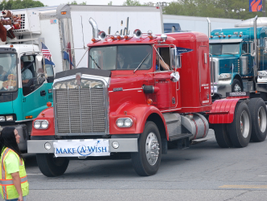 'Big Red,' a 1972 Kenworth, was driven by Carl Ellerman three times in the convoy, the last in...