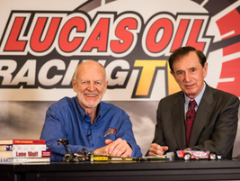TV host Dave Despain and Forrest Lucas on the opening day of the 2015 PRI Convention in...