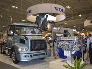 Volvo's booth highlighted connectivity. Photo: Deborah Lockridge