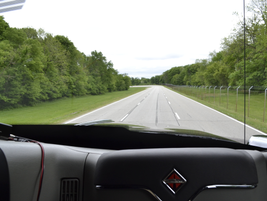 A cab-eye view of the oval track at the Navistar Proving Ground.