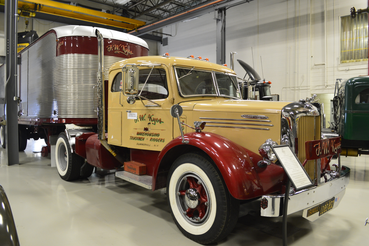 The newest truck in the collection is this beautifully restored 1950 LFT model with vintage...