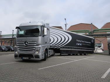 One of three Mercedes Benz Actros cabovers that jointly demonstrated Daimler's semi-autonomous...