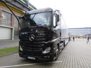 Trucks #2 and #3 in Daimler's three-truck Highway Pilot Connect semi-autonomous platoon wait at...