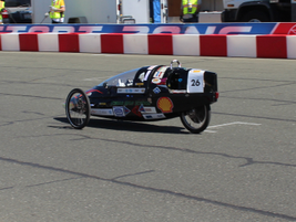 An entrant in the Shell Econ-marathon mileage challenge makes it way around the Sonoma Raceway...