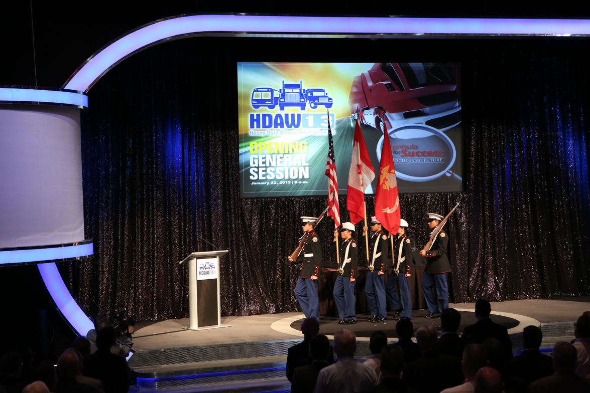 The color guard helps officially open Heavy Duty Aftermarket 2013 in Las Vegas.