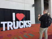 """The """"I heart trucks"""" display near the exhibit entrance was a perfect spot for photos. Photo:..."""