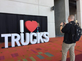 "The ""I heart trucks"" display near the exhibit entrance was a perfect spot for photos. Photo:..."