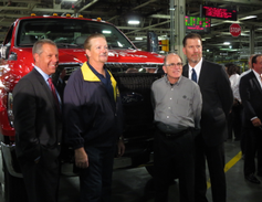 From left, Joe Hinrichs, Ford president, The Americas; Tim Rowe, UAW chairman, Ohio Assembly...
