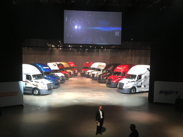 Toby Faulkner, director of New Cascadia development, presents 12 of the first trucks...