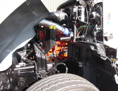 The Cummins ISL9 is masked by plumbing, but daily fluid checks are within easy reach. The...
