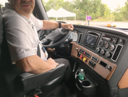 The driver's perch in the new Cascadia fits like a glove. All the controls are within easy reach...