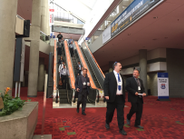 Attendees heading down to the exhibit level at the Georgia World Congress Center in Atlanta....