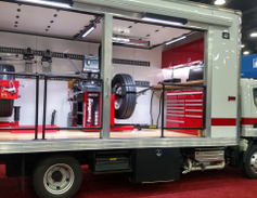 Hunter wheel-mounting and alignment equipment travels to Florida customers in this mobile...
