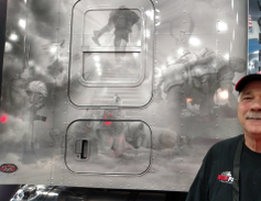 Battle scenes were vinyled onto driver Mark Seligman's W900L on orders from Bill Brinser, owner...