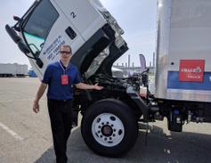 Before driving the FTR, an Isuzu engineer did a walkaround of the new truck, explaining...