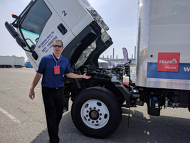 Before driving the FTR, an Isuzu engineer did a walkaround of the new truck, explaining...
