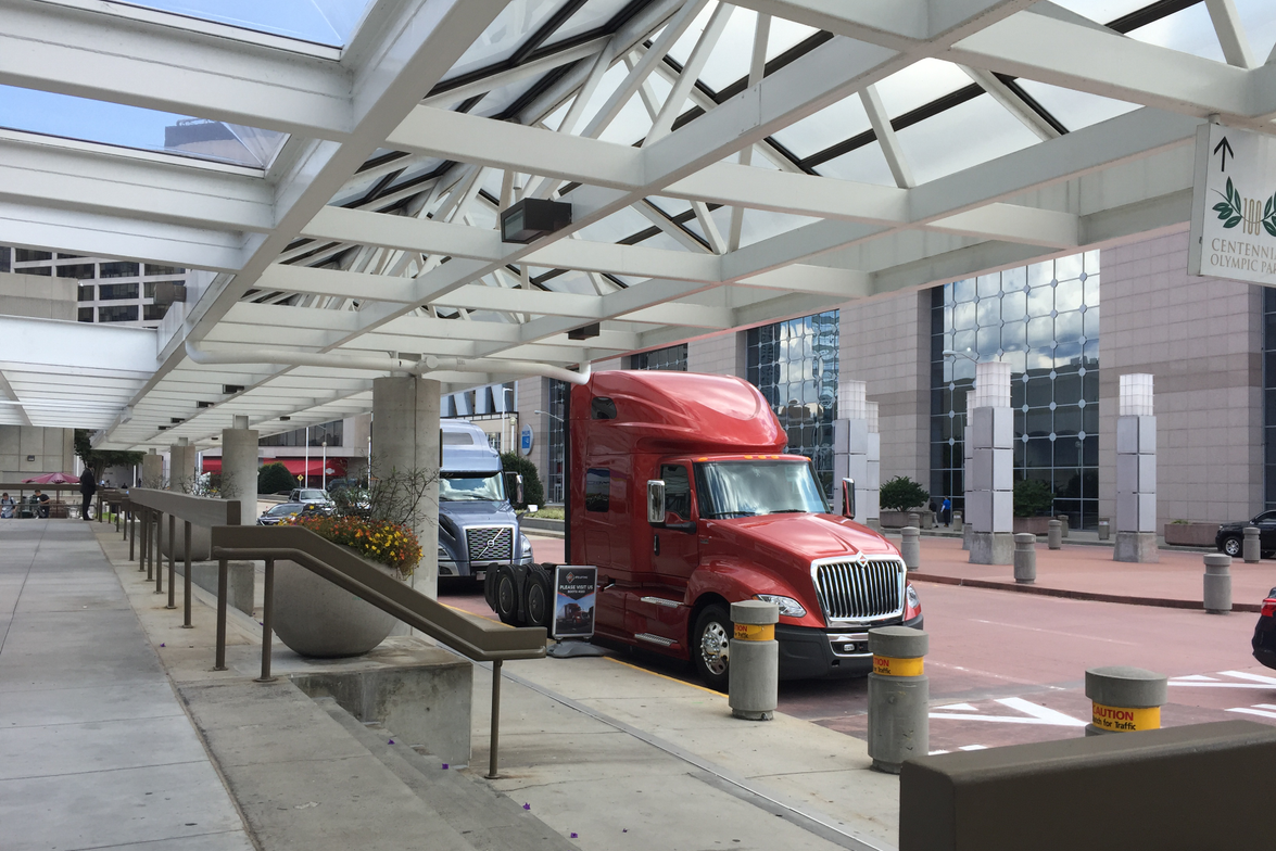 Trucks on display outside the Georgia World Congress Center. Photo: Deborah Lockridge