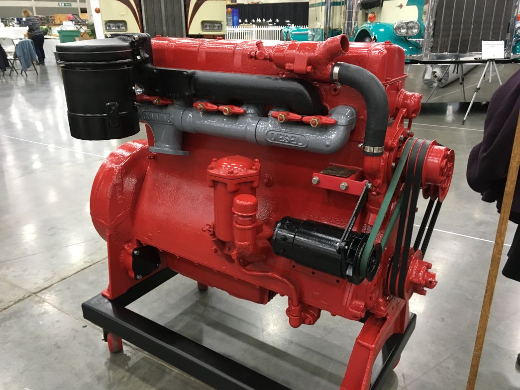 This 1940-vintage Cummins Diesel is rated at 85 hp at 2,200 rpm. The build sheet displayed with...