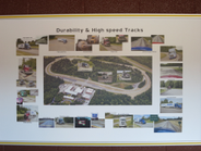A sign inside the Technical Center hghlights the test track features. Photo: Deborah Lockridge