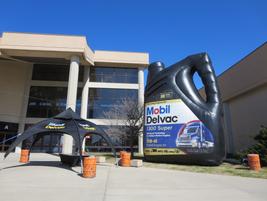 A giant blow-up jug of oil greets MATS attendees at the main entrance. Photo: Deborah Lockridge