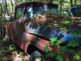 Looks like this old truck had some body work done before it was put away for good. Photo:...