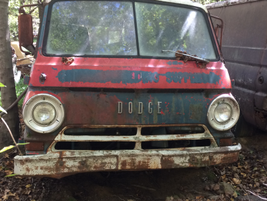 A bug-eyed Dodge van out to pasture. Photo: Jack Roberts