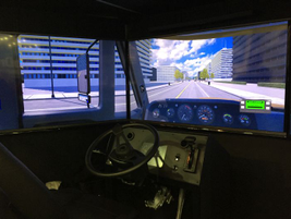 Wabco offered visitors an interactive simulation of its safety tech such as lane departure...