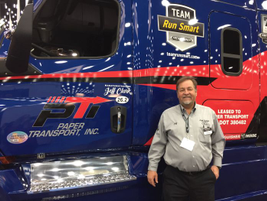 Jeff Clark, one of the Freightliner Run Smart owner-operators on hand showing off his brand-new...