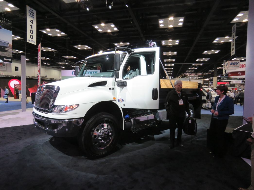 International launched a new medium-duty Class 6/7vehicle, the MV Series, at the show. It...