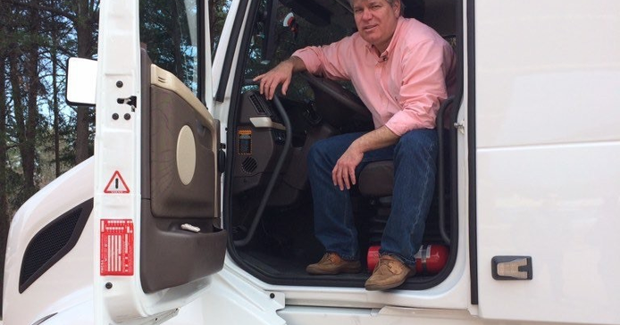 Here I am ready to take Volvo's incredible SuperTruck for a drive. Photo: Jack Roberts