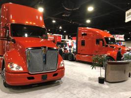 Sharp-looking Kenworth trucks on the TMC show floor.Photo: Jack Roberts