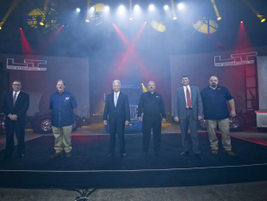 Navistar executives and fleet drivers took the stage after the rollout of the new LT tractors....
