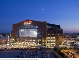 Lucas Oil Stadium at night, in Indianapolis, Indiana. The twenty-year naming rights contract for...
