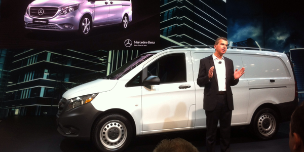 Bernie Glazer, vice president and managing director Mercedes-Benz Vans, shows the Metris...