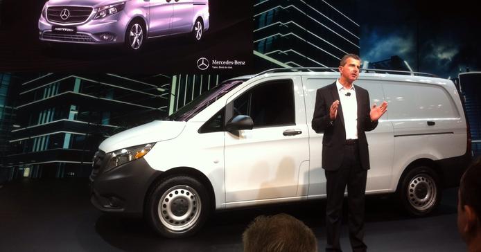 Bernie Glazer, vice president and managing director Mercedes-Benz Vans, shows the Metris...