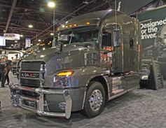 Mack showed off its new Anthem highway tractor, unveiled to the press just weeks ago. Photo:...