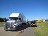 Trucks line up for testing of various combinations of engines and automatic transmissions at PIT...