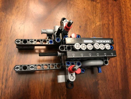 The engine block in lego form.
