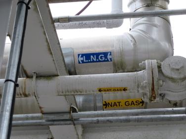 The LNG is then pumped into the big storage tank. Photo by Deborah Lockridge