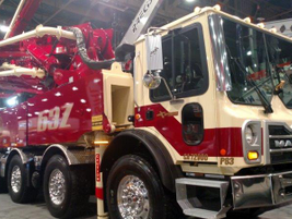 Mack's MR is the chassis chosen for most large pumpers, like this Putzmeister 63Z. The number...