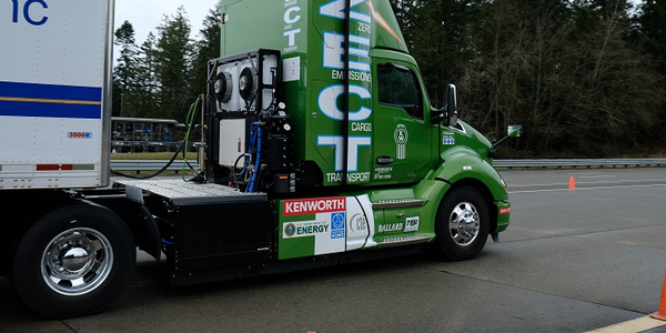 The powertrain on this truck is scaled for short-haul service, working at a drayage facility...