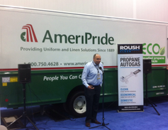 Banny Allison, fleet manager for Ameripride, explains the benefits of propane autogas for his...