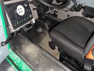 A stainless steel cab offers more leg and head room for drivers. A joystick operates chute,...