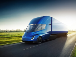Musk says his new truck will be able to cruise 600 miles on a single battery charge. Photo: Tesla