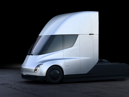 The truck features a highly aerodynamic, modern design. Photo: Tesla