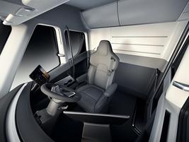 The Tesla Semi's spartan interior features ample storage space. Photo: Tesla