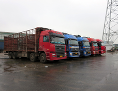 This truck park outside Shanghai handles about 350 trucks a day, which is considered small.
