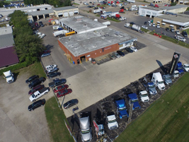This is an aerial view of Thompson Truck & Trailer's Cedar Rapids, Iowa headquarters.