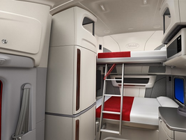 In the double bunk configuration, there's room to sit on the lower bunk without bumping your...