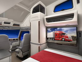 There's room for a good-sized television at the foot of the bottom bunk. Photo: Peterbilt